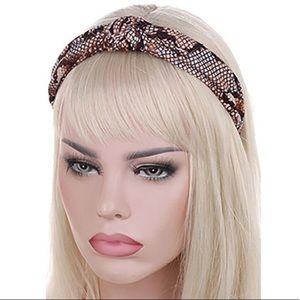 Knitted Headband Brown Snakeskin